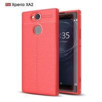 Litch gélový odolný obal s textúrou na Sony Xperia XA2 - červený