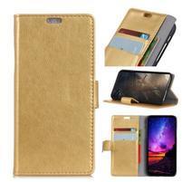 Stand PU kožené puzdro na mobil Sony Xperia XA2 Plus - zlaté
