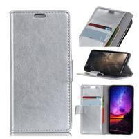 Stand PU kožené puzdro na mobil Sony Xperia XA2 Plus - strieborné