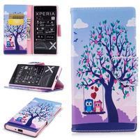 Printy PU kožené knížkové puzdro na Sony Xperia XZ - láska pod stromom