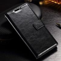 Francis PU kožené Peňaženkové puzdro pre Sony Xperia XZ - čierne