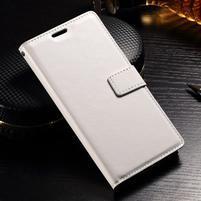 Francis PU kožené Peňaženkové puzdro pre Sony Xperia XZ - biele