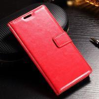 Francis PU kožené Peňaženkové puzdro pre Sony Xperia XZ - červené