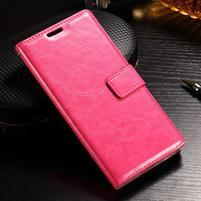 Francis PU kožené Peňaženkové puzdro pre Sony Xperia XZ - rose