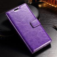 Francis PU kožené Peňaženkové puzdro pre Sony Xperia XZ - fialové