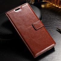 Francis PU kožené Peňaženkové puzdro pre Sony Xperia XZ - hnedé