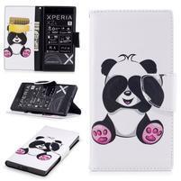 Printy PU kožené knížkové puzdro na Sony Xperia XZ - panda