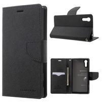Diary PU kožené puzdro pre mobil Sony Xperia XZ - čierne