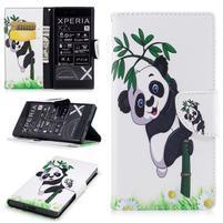 Printy PU kožené knížkové puzdro na Sony Xperia XZ - panda na bambuse