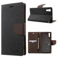 Diary PU kožené puzdro pre mobil Sony Xperia XZ - čierne/hnedé