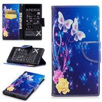 Printy PU kožené knížkové puzdro na Sony Xperia XZ - ruže a motýle