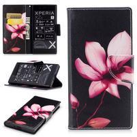 Printy PU kožené knížkové puzdro na Sony Xperia XZ - kvet