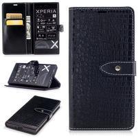 CrocoStyle PU kožené puzdro na Sony Xperia XZ - čierne