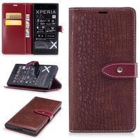 CrocoStyle PU kožené puzdro na Sony Xperia XZ - vínové
