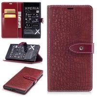 CrocoStyle PU kožené puzdro na Sony Xperia XZ - červené