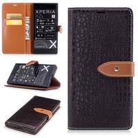 CrocoStyle PU kožené puzdro na Sony Xperia XZ - hnedé