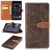CrocoStyle PU kožené puzdro na Sony Xperia XZ - coffee
