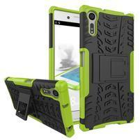Outdoor odolný obal so stojanom na Sony Xperia XZ - zelený