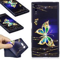 Matty gélový obal na Sony Xperia XZ - zlatý motýľ