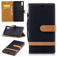 Jeany PU kožené/textilné puzdro na telefón Sony Xperia XZ - čierne