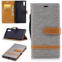 Jeany PU kožené/textilné puzdro na telefón Sony Xperia XZ - sivé