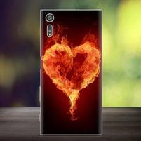 Bossy gélový obal pre mobil Sony Xperia XZ - ohnivé srdce