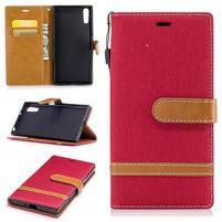 Jeany PU kožené/textilné puzdro na telefón Sony Xperia XZ - červené