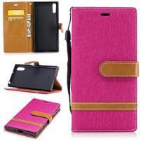 Jeany PU kožené/textilné puzdro na telefón Sony Xperia XZ - rose