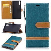 Jeany PU kožené/textilné puzdro na telefón Sony Xperia XZ - zelenomodré