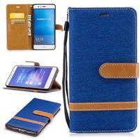 Jeany PU kožené/textilné puzdro na telefón Sony Xperia XZ - modré