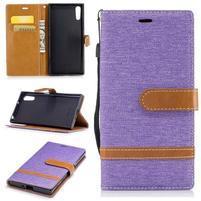 Jeany PU kožené/textilné puzdro na telefón Sony Xperia XZ - fialové