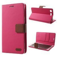 Stylové PU kožené puzdro na Sony Xperia XZ Premium - rose