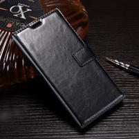 Wallet PU kožené zapínacie puzdro na Sony Xperia XZ Premium - čierne