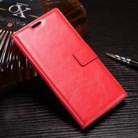 Wallet PU kožené zapínacie puzdro na Sony Xperia XZ Premium - červené