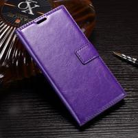 Wallet PU kožené zapínacie puzdro na Sony Xperia XZ Premium - fialové