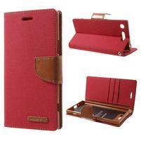 Canvas textilné/PU kožené puzdro na Sony Xperia XZ1 - červené