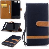 Jean textilné/PU kožené puzdro na Sony Xperia XZ1 - čierne