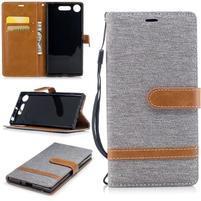 Jean textilné/PU kožené puzdro na Sony Xperia XZ1 - sivé