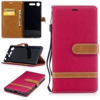 Jean textilné/PU kožené puzdro na Sony Xperia XZ1 - červené
