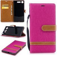 Jean textilné/PU kožené puzdro na Sony Xperia XZ1 - rose