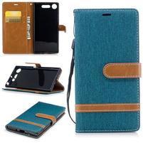 Jean textilné/PU kožené puzdro na Sony Xperia XZ1 - modrozelené