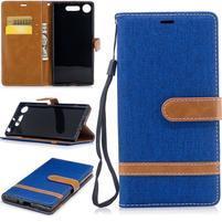 Jean textilné/PU kožené puzdro na Sony Xperia XZ1 - modré