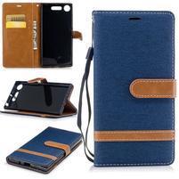 Jean textilné/PU kožené puzdro na Sony Xperia XZ1 - tmavomodré