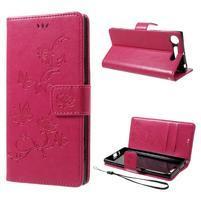 Butterfly PU kožené puzdro na mobil Sony Xperia XZ1 - rose