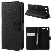 Litch PU kožené zapínacie puzdro na Sony Xperia XZ1 - čierne