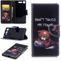Emotive peňaženkové puzdro na mobil Sony Xperia XZ1 - nahnevaný medveď