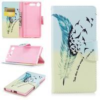 Emotive peňaženkové puzdro na mobil Sony Xperia XZ1 - vtáčie pierko
