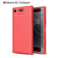 Litchi odolný obal s textúrovaným chrbtom na Sony Xperia XZ1 Compact - červený