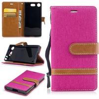 Jean textilné/PU kožené puzdro na mobil Sony Xperia XZ1 Compact - rose