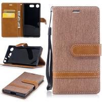 Jean textilné/PU kožené puzdro na mobil Sony Xperia XZ1 Compact - béžové